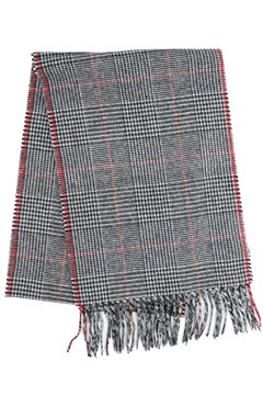 Wool Prince Of Wales Check Scarf 990 BLACK 1