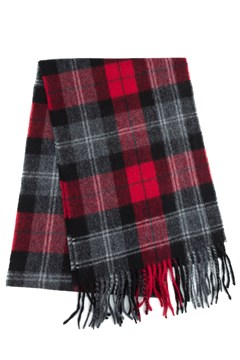 Wool Cashmere Check Scarf 360 RED 1