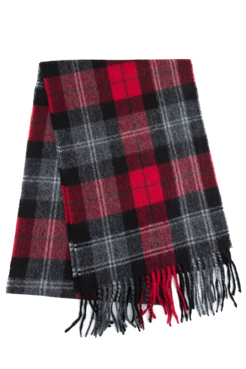 Wool Cashmere Check Scarf - 360 red