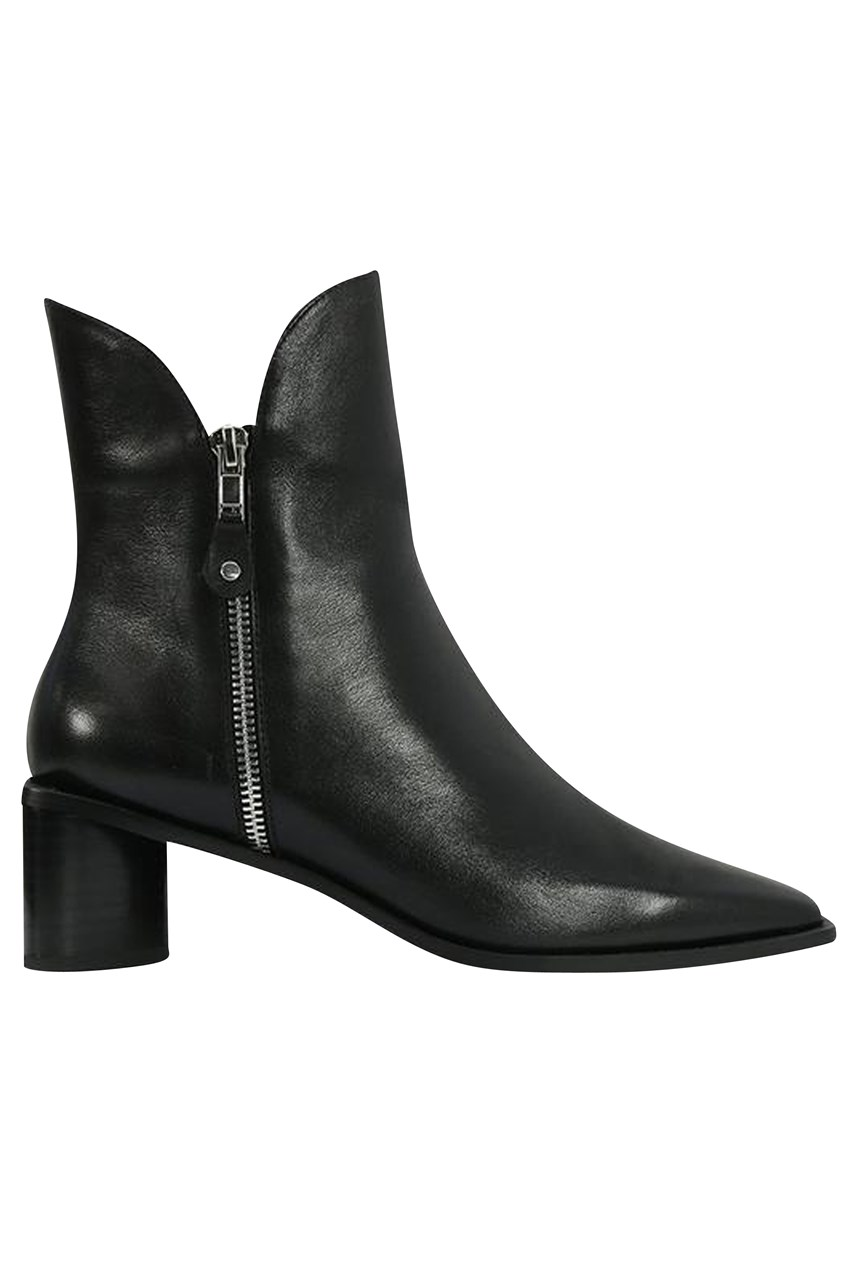 Leather Heeled Boot With Zip Detail