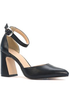 Shopper Leather Court Heel with Ankle Strap BLACK 1
