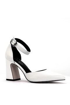 Shopper Leather Court Heel With Ankle Strap WHITE 1