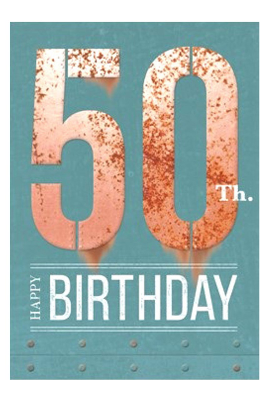 50th Birthday Rust Iron Card