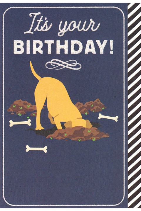 Birthday Dog Digging Card -