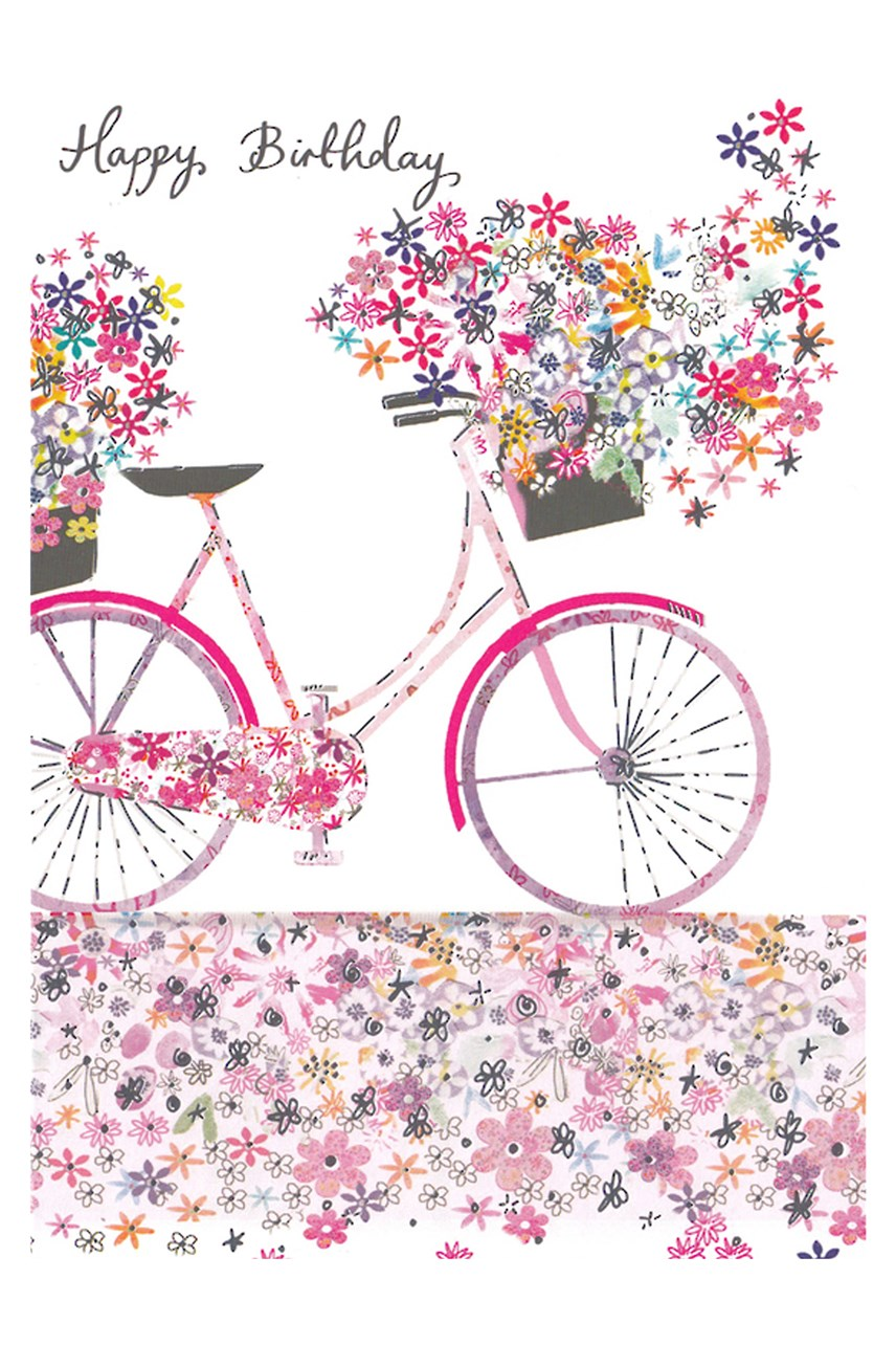 Daisy Patch Bicycle Birthday Card