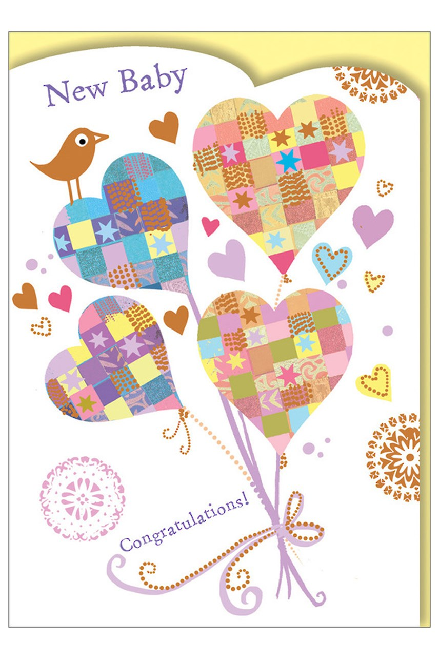 Mosaic New Baby Hearts Card