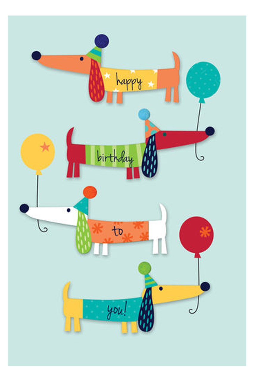 Dogs And Party Hats Card