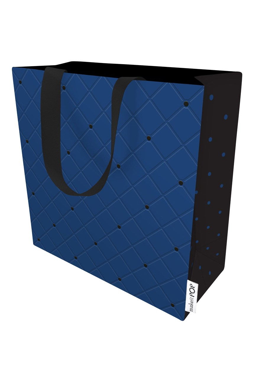 Quilted Navy Gift Bag - Small