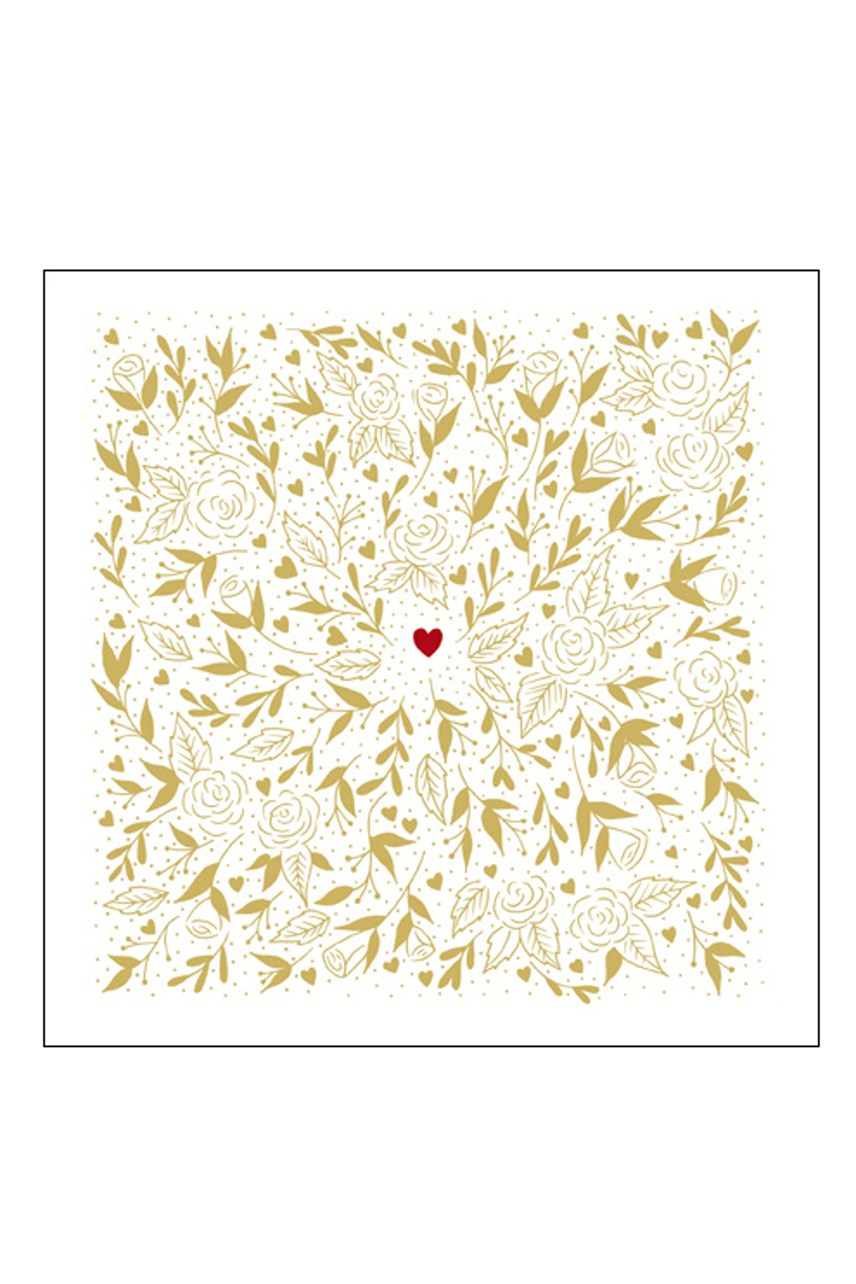 Ebony Gold Leaves Large Valentines Card