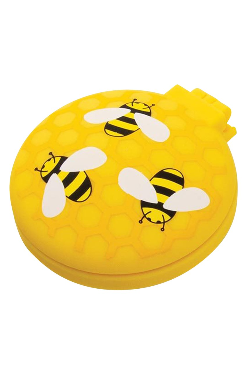 Buzzing Bees Compact Hairbrush Mirror - Yellow