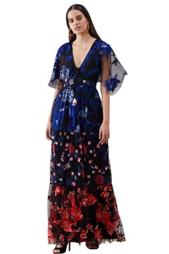 Daria Embroidered Net Maxi Dress BLK 1