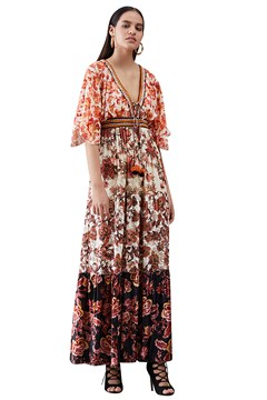 Eos Floral Panelled Maxi Dress MULTI 1