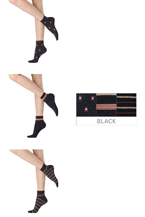 Graphic Socks - 3 Pairs - black