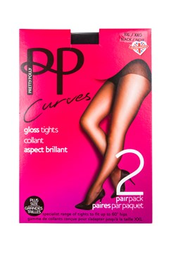 Curves Gloss Tights - Two Pack BLACK 1