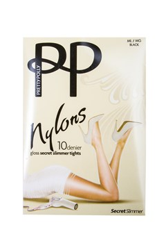 Gloss Secret Slimmer Nylon 10 Denier Tights BLACK 1