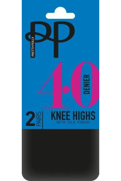40 Denier Knee Highs with Silk Finish - 2 Pairs