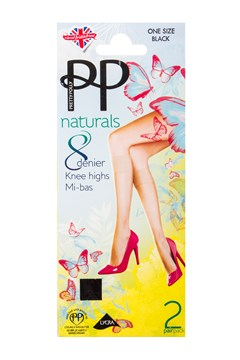Naturals 8 Denier Knee Highs - Two Pack BLACK 1