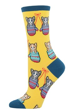 Kittens in Mittens Crew Sock - yellow