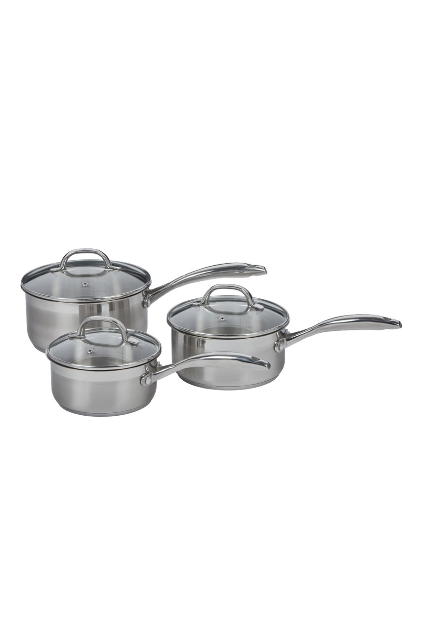 Swiss Diamond Steel 3-Piece Saucepan Set