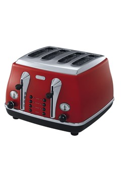CTO4003R 'Icona' 4 Slice Toaster - red