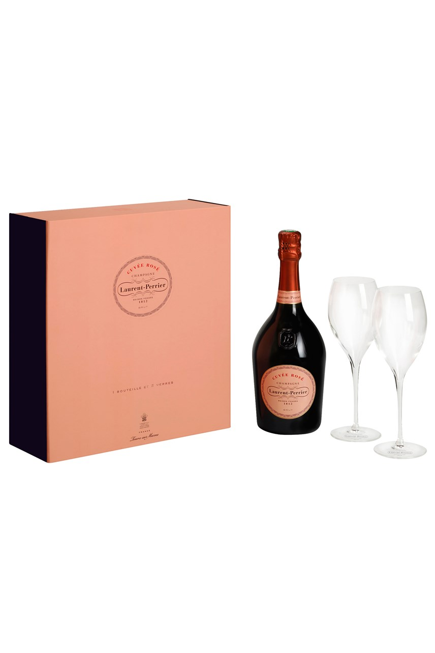 Cuvée Rosé Champagne Gift Box With Flutes