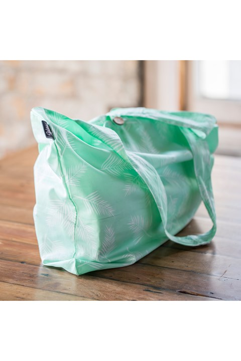 Reusable Tote Bag - mint and white