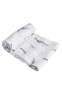Cotton Muslin Single Swaddle NARWHAL 1
