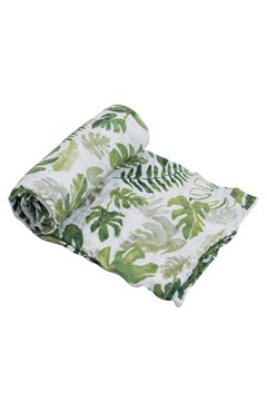 Cotton Muslin Single Swaddle TROPICAL LEAF 1