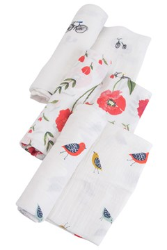Cotton Muslin Swaddle 3 Pack SUMMER POPPY 1