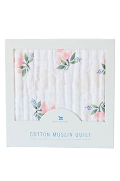 Cotton Muslin Quilt - watercolour rose