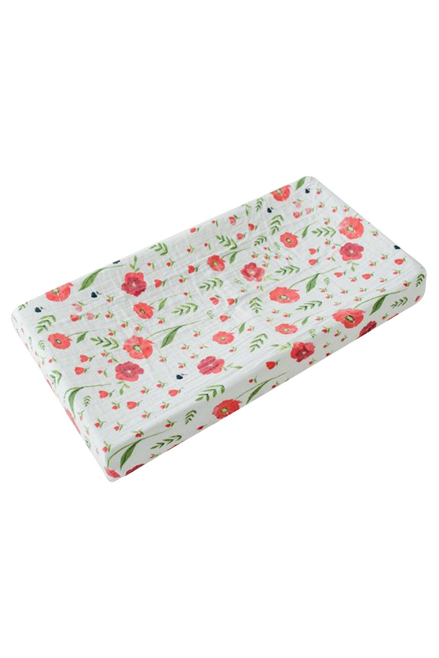 Muslin Changing Pad Cover - Summer Poppy