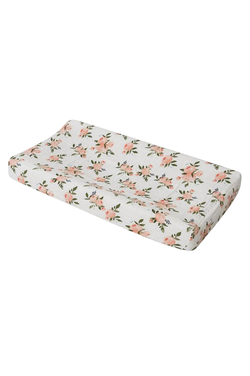 Muslin Changing Pad Cover - Watercolour Roses