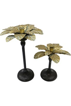Miami Palm Candlestick - black gold