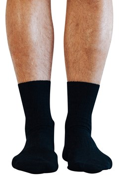 Black Rib Crew Sock BLK 1