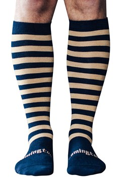 Merino Wool Knee High Socks NAVY CARAMEL 1