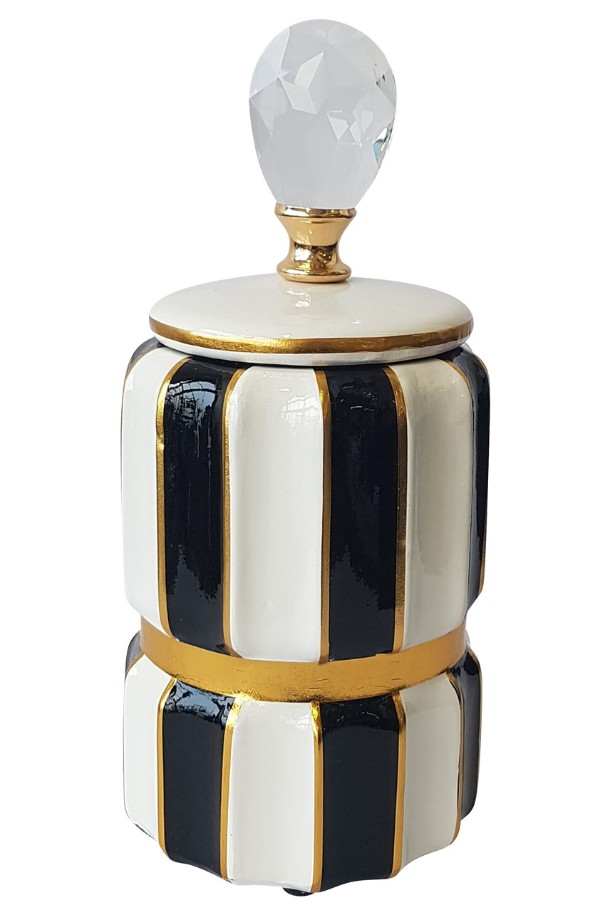 Luxe Bold Striped Vase with Lid