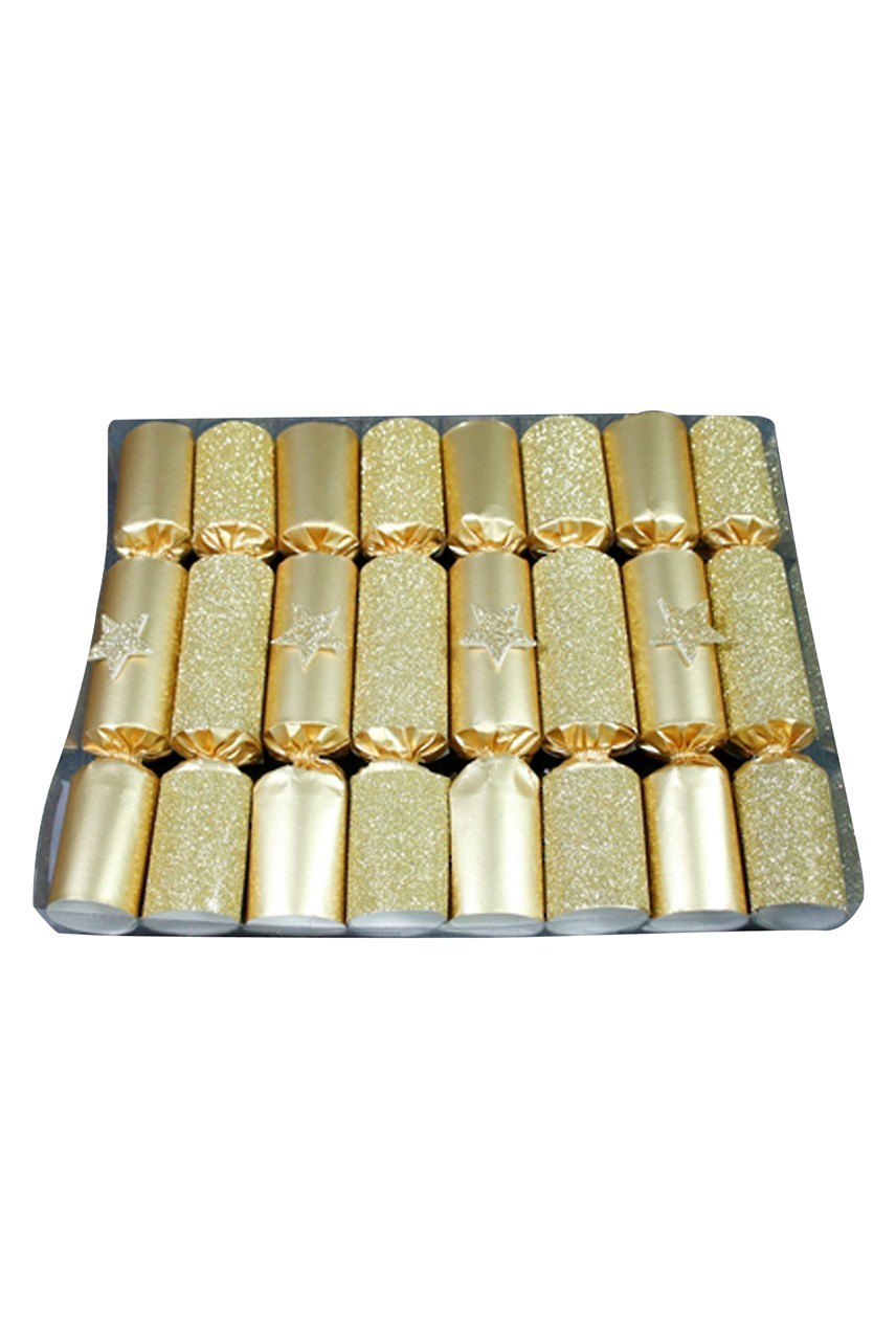 Robin Reed Gold Glitter Star Crackers - Box of 8