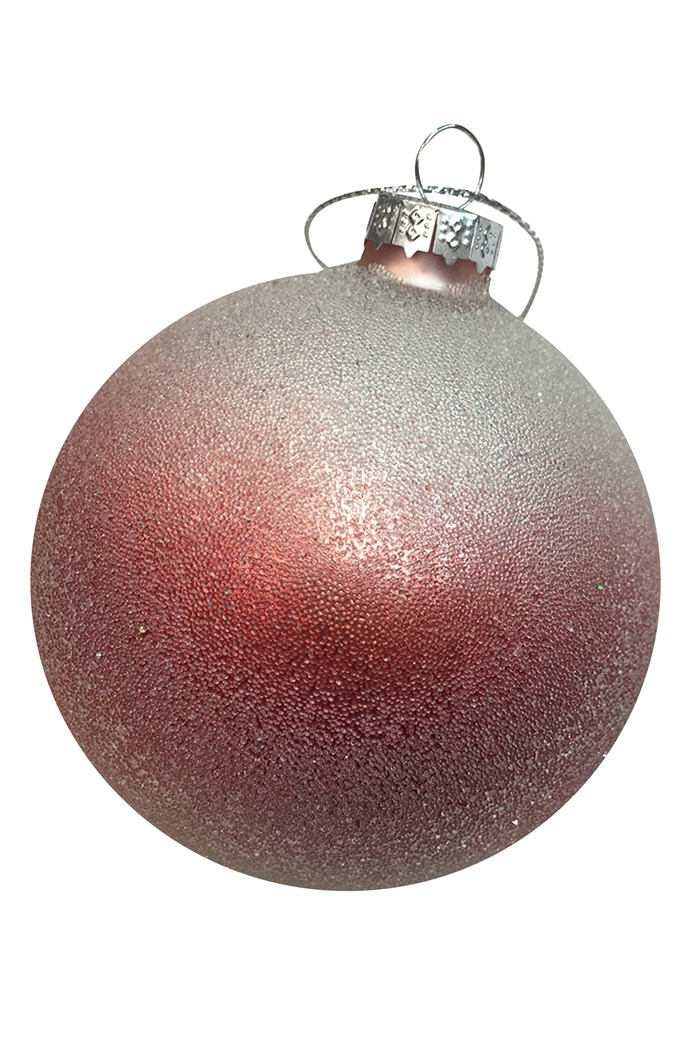 Frosted Red And White Glass Ball