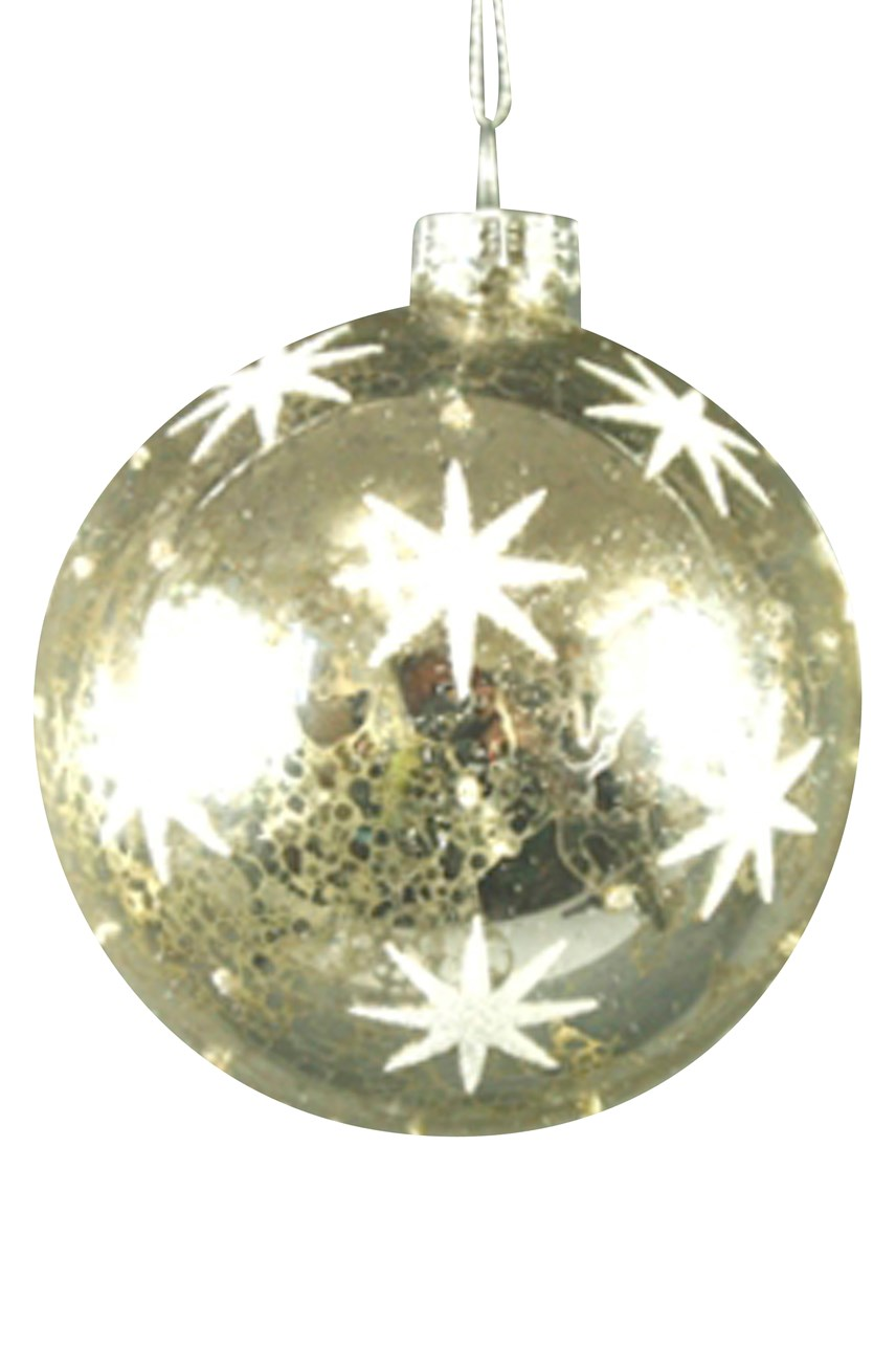 Mercury Glass Ball with White Stars