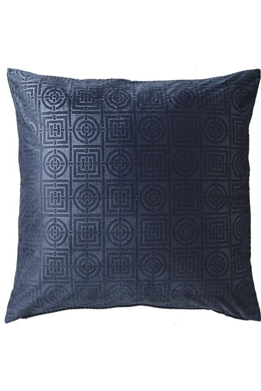 Circles & Squares Velvet Navy European Pillowcase