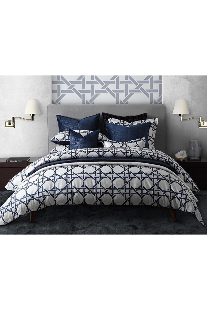 Octagonal Lattice Ink Duvet Cover Set