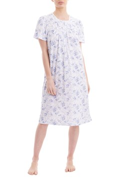 Sofia Short Sleeve Nightie BLUE/WHITE 1
