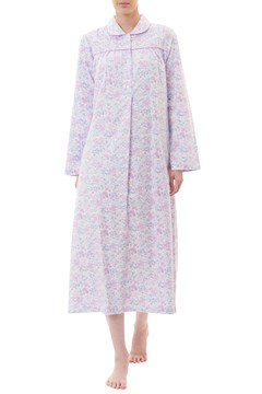 Kitty Flannelette Long Nightie PINK 1