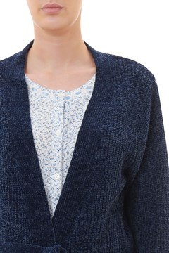 Chenille Lounge Cardigan - navy blue