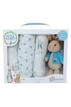 Peter Rabbit Soft Toy & Muslin Set -