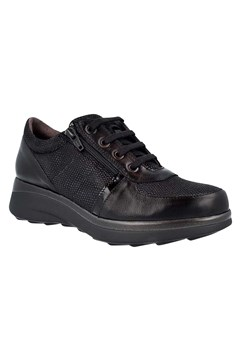 Leather Lace Up Sneaker BLACK 1