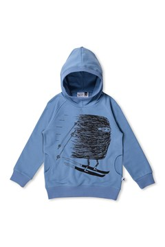 Downhill Skier Furry Hoodie MUTED BLUE 1