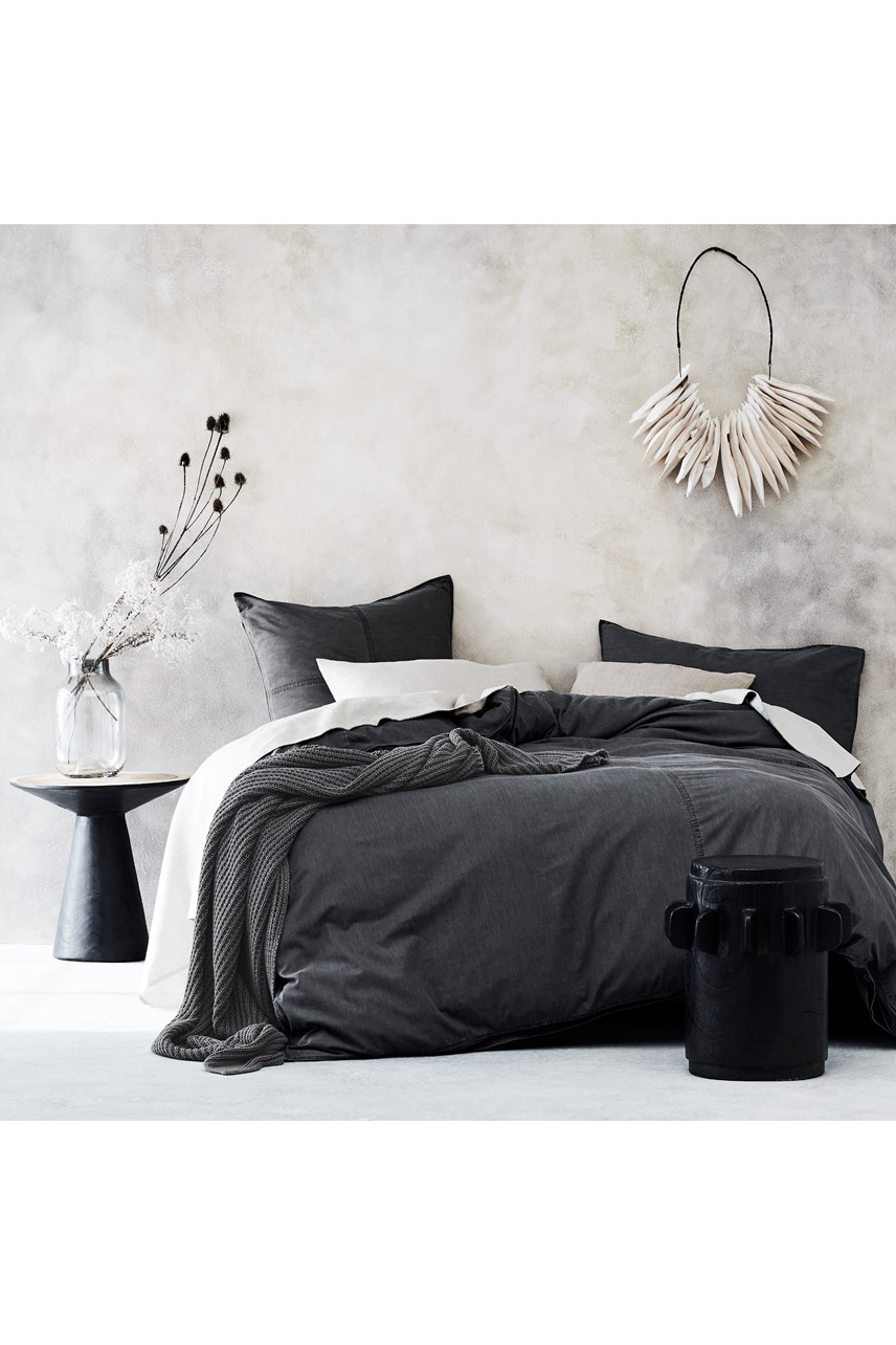 Denim Quilt Cover Set - Charcoal