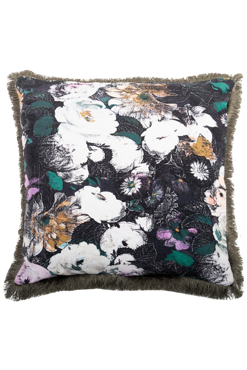 Blooms Fringed Square Cushion