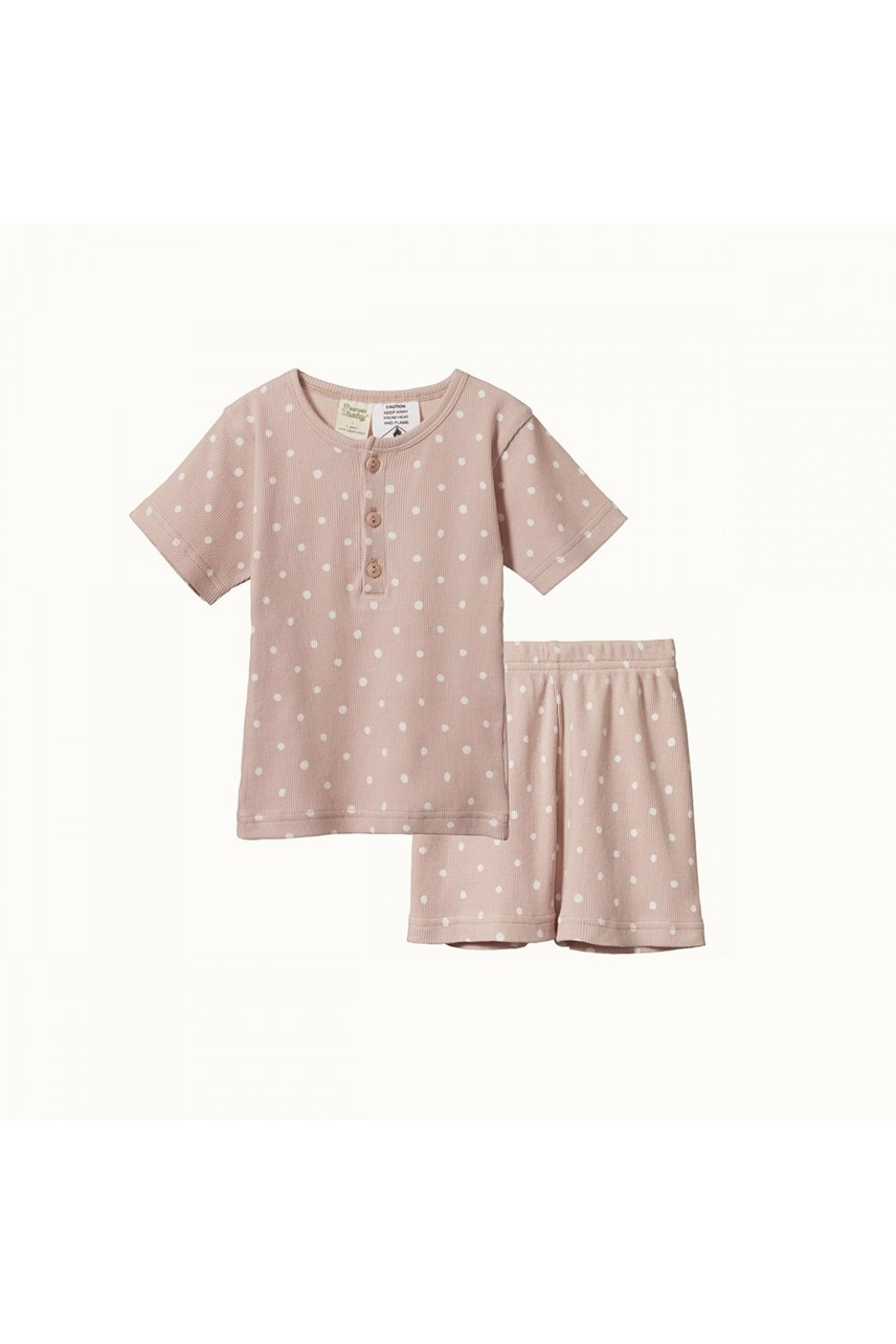 Short Sleeve Cotton Rib Pyjama Set
